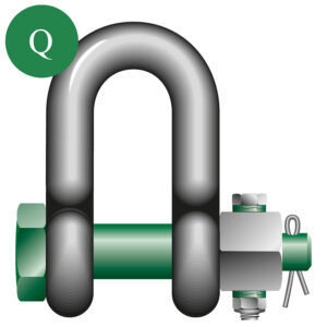 Green Pin Dee shackle fixed nut
